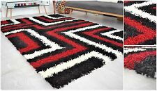 Tides Design Red & Black Modern Shaggy 5cm Thick Soft Pile Area Rug Mats Carpet