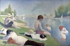 Seurat - Bathers at Asnieres  Art Canvas/Poster Print A3/A2/A1