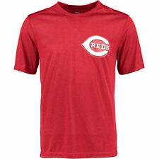 Cincinnati Reds Majestic Synthetic Heathered Wordmark  T-Shirt - Red
