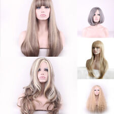 Women Blunt Straight Curly Hair Wavy Long Full Wig Heat Resistant Party Cosplay