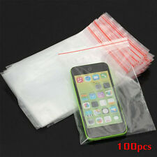 100Pcs/Set Clear Bags Plastic Poly Grip Self Seal Resealable Zip Lock Packing HG