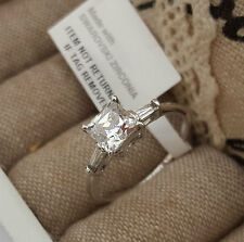 AAAAA Simulated Diamond Solitaire Ring Set In Platinum O/Lay Sterling Silver