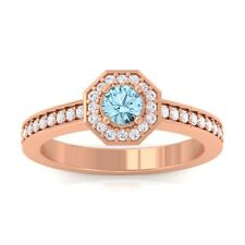 Blue Topaz FG SI Gemstone Diamond Engagement Ring Women 10K Rose Gold