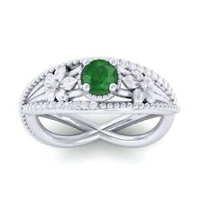 Green Emerald FG SI Diamonds Flower Gemstone Engagement Ring 14K White Gold