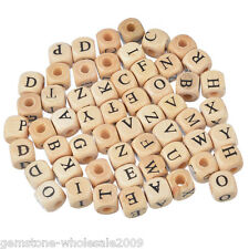 Wholesale W09 Mixed Natural Color Cube Alphabets Letter Wood Beads 10mm