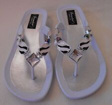 GRANDCO SANDALS Beach Pool THONG BLING Dressy ZEBRA Pattern GEMSTONES Jeweled