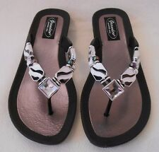 GRANDCO SANDALS ZEBRA PATTERN Beach Pool THONG BLING Dressy GEMSTONES Jeweled
