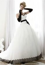 Hot Sale Sweetheart Black White Wedding dresses Bridal gown Custom Made All Size