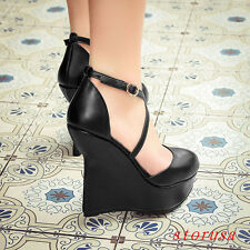 Women High Wedge Heel Platform Shoes Ankle Strappy Sandals Shoes Size 34-39 New