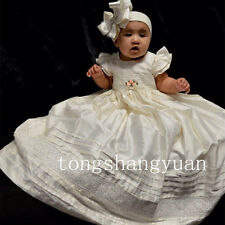 Baby Robe Christian Baptismal Gowns Lace Applique Christening Dresses Custom New