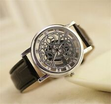 Hollow Carve Dial Leather Band Analog Quartz Ultra-thin Mens Wrist Watch #JG
