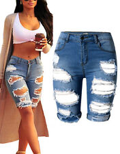 Womens High Waist Ripped Hole Denim Jeans Shorts Distressed Pants