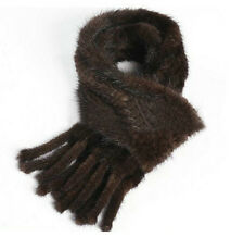 Knitted Farm Mink Fur Scarf Cape Stole Shawl Wraps 155*12cm Valentine's Day