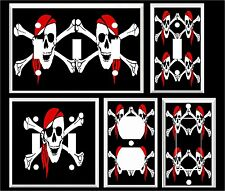 RED SCARF PIRATE SKULL & CROSS BONES LIGHT SWITCH COVER PLATE