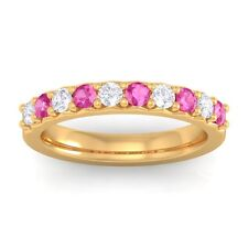 Pink Sapphire GH VS Round Diamonds Classic Half Eternity Band 10K Yellow Gold