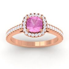 Pink Sapphire GH VS Diamonds Halo Gemstone Engagement Ring 14K Rose Gold
