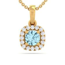 Blue Topaz GH VS Diamonds Cushion Gemstone Pendant Women 18K Yellow Gold