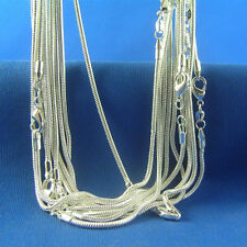 """Wholesale 10pcs 925 Sterling Silver Plated 1.2mm Snake Chain Necklace 10""""-30"""""""