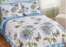 Daisy Butterfly Bedding Set Blue Yellow White Quilt Shams King Queen Full Twin