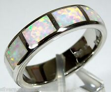 White Fire Opal Inlay 925 Sterling Silver Eternity Band Men's Ring Size 11.5