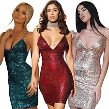 Women Backless Sequined Bodycon Dress Cami Slip Evening Club Cocktail Mini Dress