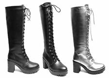 Womens PU Leather Knee High Boots Shoes Block Heel Ladies Boot LaceUp Sexy Shiny