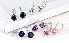 Unique 18k White Gold Filled Shining Crystal Charming Hoop Earring Fit Gift