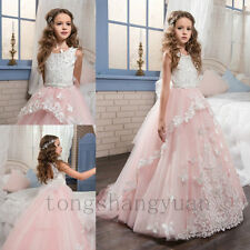Applique Flower Girl Dresses Princess Birthday Formal Prom Gown Pageant 2017 New