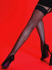 Silky Scarlet Back Seamed Fishnet Stockings, Net Stockings with Seam Lace Top