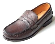 NIB mens FRYE 'Douglas' Penny Hammered dark brown leather loafers shoes - BEST