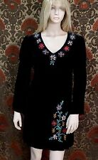 Double D Ranch Black Velvet Floral Embroidered Dress Size Small EUC