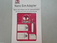 Convert Nano SIM Card to Micro Standard SIM Adapter For iPhone 6 6+ 5 4S 4