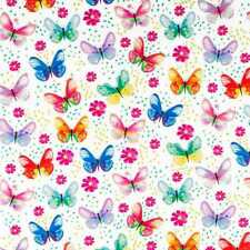 Butterfly Floral Purple Pink Blue Flowers Butterflies White Cotton Fabric a2/42