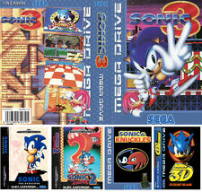 Sonic 1 2 3 3D UK PAL US Sega Megadrive Replacement Box Art Sleeves Insert Case
