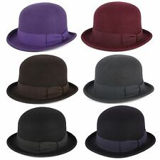 100% Wool Bowler Hat with Grosgrain Band Handmade in Italy