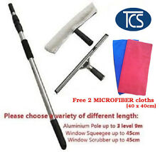 New EXTENDABLE WINDOW CLEANING SET KIT TELESCOPIC POLE CLEANER SQUEEGEE