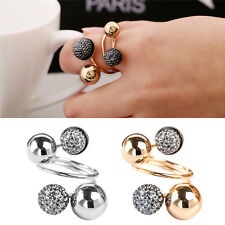 Women Girl Punk Adjustable Resin Ball Little Golden Beans Rings Lady Jewelry