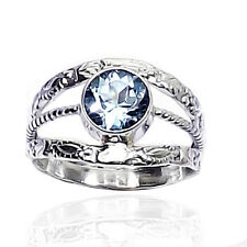 FACETED BLUE TOPAZ 925 SOLID SILVER CLASSIC SOLITAIRE SIMPLE RING SIZE-3-12.5 KK