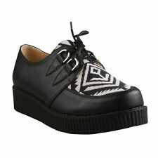 Refresh Women's Black and White Lace-up Creeper Shoe Style ADD-03
