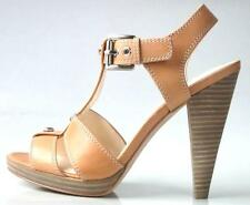 new COACH 'Ginger' tan T-strap platforms open-toe heels shoes - SEXY NUDE