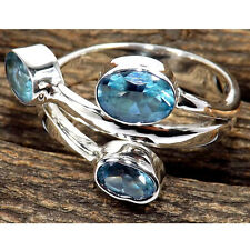 FACETED BLUE TOPAZ SOLID 925 SILVER THREE STONE SOLITAIRE RING SIZE-5 TO 12.5 KK