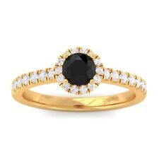 Black Onyx FG SI Diamond Gemstone Enagagement Ring Women 14K Yellow Gold