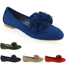 NEW WOMENS FRINGE LOAFERS LADIES SLIP ON FLATS PUMPS BALLERINA SHOES SIZE 3-8