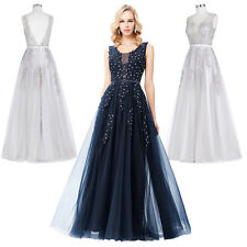 Deep V-Back Soft Tulle Beaded Long Ball Gown Bridesmaid Evening Prom Party Dress