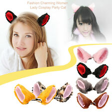 Fashion Charming Women Lady Cosplay Party Cat Ear Fur Hair Clip Party Costume F5
