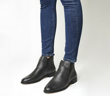 Womens Office Apollo Casual Flat Boots BLACK LEATHER Boots