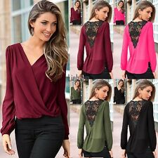 Sexy Women Ladies Lace Crochet Hollow Out V Neck Casual Top Shirt Blouse LEBB