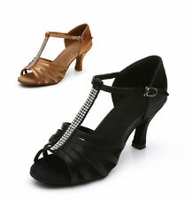 Brand New Women's Ballroom Latin Tango Dance Shoes heeled Salsa Black Brown 307