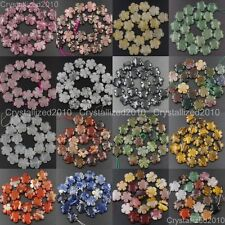 Natural Gemstone Flower Shape Spacer Loose Beads Fluorite Quartz 14mm 20mm 16""
