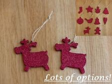Tree Ornament Sale!! Pair Christmas Decoration or Gift- Wood Red Glitter Festive